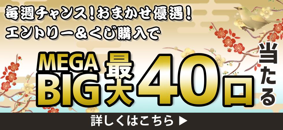 【楽天toto】毎週チャンス!おまかせ優遇!エントリー&くじ購入でMEGA BIG最大40口当たる♪