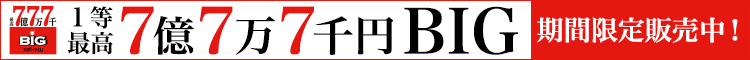1等最高7億7万7千円BIG 期間限定販売中!8月9日まで