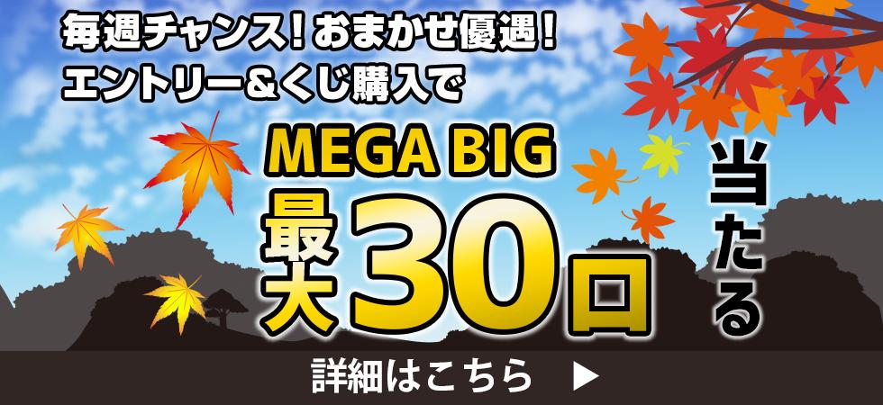 【楽天toto】毎週チャンス!おまかせ優遇!エントリー&くじ購入でMEGA BIG最大30口当たる♪