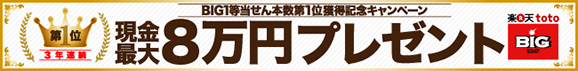 【楽天toto】おかげさまで楽天グループは3年連続BIG1等当せん本数第1位!獲得記念キャンペーン!