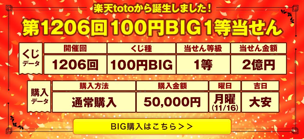 楽天totoから誕生しました!第1206回100円BIG1等当せん